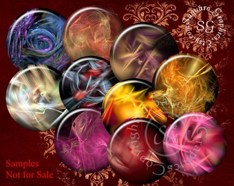 Fractal Motion Art - Digital Collage Sheet - 1.5 inch Circles for Pendants, Magnets, Bottle Caps, Jewelry Supplies sg399