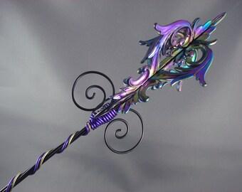 Damask Evil Queen Sceptre - Evil Queen Wand Purple Scepter Purple Wand Evil Queen Costume Fairy Wand Fairy Scepter Regina Costume OUAT