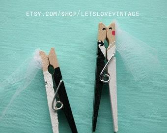Custom Bridal Shower Favors - Wedding Favors - 25 Handpainted Bride Groom Kissing Clothespins