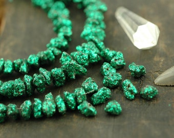 Green Pyrite Sparkle: Glittered Gemstone Nugget Beads / 10 beads, 11x5mm / Glittery, Flashy Designer Festive Craft, Jewelry Making Supplies