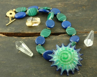 Sea Starburst Lampwork Glass Necklace / Handcrafted by Carter, Divali Glass Jewelry / Lapis, Malachite, Whimsical Statement Necklace