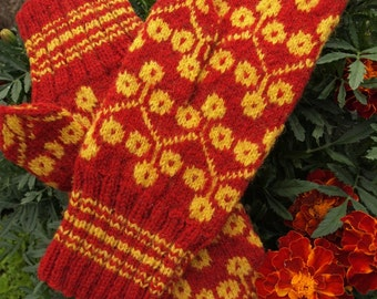 Finely Hand Knitted Estonian Mittens in Yellow and Red - warm and windproof