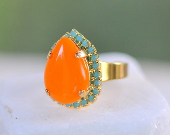 Orange and Turquoise Statement Ring in Gold.  Cocktail Ring with Orange Drop and Turquoise Rhinestones. Adjustable Statement Ring.