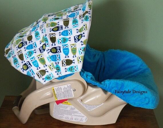 infant car seat cover owl minky by fairytaledesign on etsy. Black Bedroom Furniture Sets. Home Design Ideas