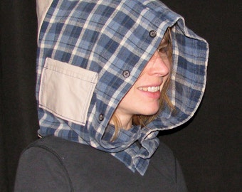 ButtonHood - blue plaid flannel hood with beige back and pocket, made from repurposed fabrics