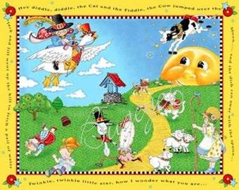 Mary Engelbreit Fabric Panel - Mother Goose Nursery Rhyme Fairy Tales - Bold & Bright
