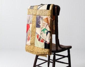 antique crazy quilt, patchwork blanket