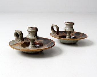 signed studio pottery, mid century modern candle holders