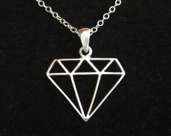 Cutout DIAMOND Geometric shape sterling silver pendant charm with necklace chain