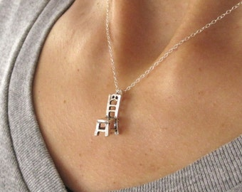 Sterling silver 3D CHAIR charm with necklace chain, furniture necklace