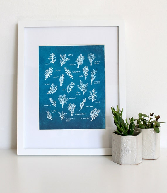 Https Www Etsy Com Listing 187098996 Herb Print Illustrated Herbs In Blue Sun