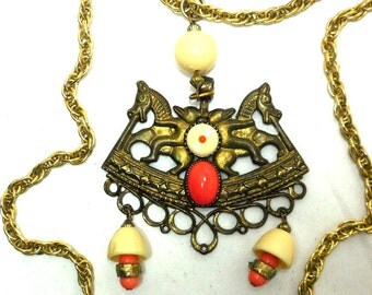 Egyptian Revival Necklace ART Signed Horse STATEMENT Coral Cream Triple Gold tone Chains Unique Boho