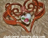 Copperwork Woven Bracelet with Lampwork Heart Accent