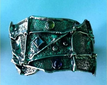 Wide Cuff Bracelet Fine Silver Fold Formed Cuff  Square Blue topaz  amethyst  peridot chased chased oxidized