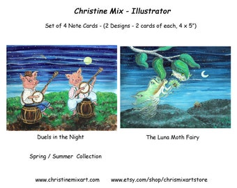 Christine Mix Note Cards - Set of 4, Duels in the Night & The Luna Moth Fairy