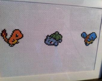 Three Starters - framed cross stitch