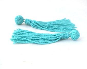 Beaded tassel earrings - clip - on earrings in turquoise- statement seed beads earstuds- long tassel studs- bridesmaid earrings- beadwork