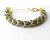 rope bracelet, free shipping green gold bracelet, summer olive green bracelet, green gold