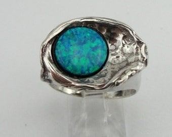 Hadar Jewelry Handcrafted Sterling Silver Opal Ring size 8 (H 1132)