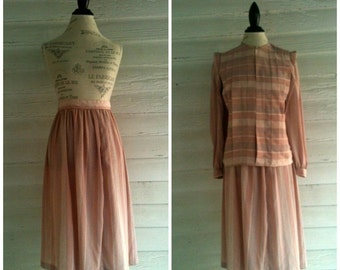 Vintage 80s Skirt Suit: Pink CHAMPAGNE Blouse and Matching Skirt