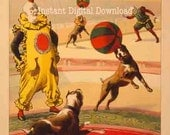 CIRCUS - Boxer Dog Show, INSTANT Digital Download to make your own Cards, Poster, Wall Art