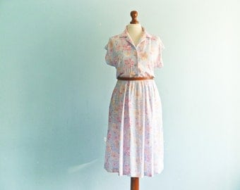 Vintage 50s 60s Dress Summer / Shirtdress / Floral / Pastel Pink Blue / Short Sleeves / Buttoned Top / Midi /  small medium