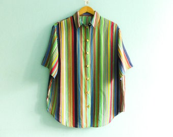 Vintage womens shirt blouse multicolor stripes striped / buttoned up down / short sleeves / collar / slouchy / medium oversized