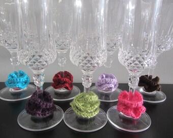 Crochet Rose Wine Charms