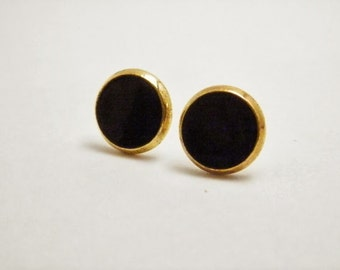 Black Earrings - Black and Gold Earrings