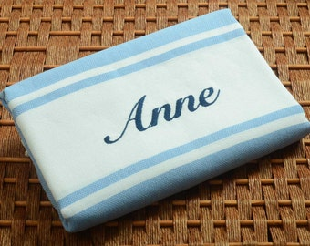 SALE %50 OFF  Personalized Turkish Towel - Karia Peshtemal - Monogrammed Embroidered - Light Blue - Spa Bachelorette Party Beach Wedding