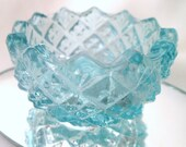 ANTIQUE  glass SALT DIP / Salt Cellar  / Salt / Aqua blue /Vintage saw tooth Individual