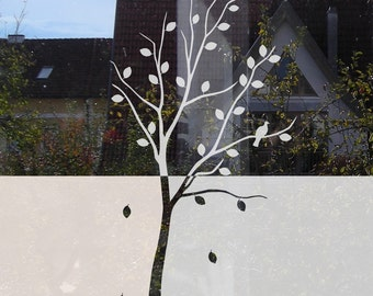Tree Privacy Film, Tree Window Film, Bird Privacy Film Etched, Glass Privacy Decal, bird window film, Glass Door Tree Decal for Privacy