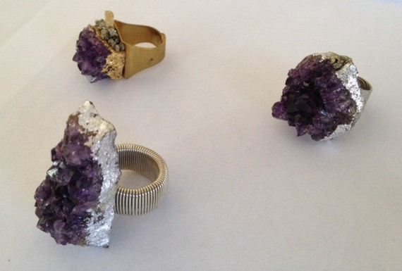 Natural Raw Amethyst Rings, Jewelry, Gem Stone, Purple, Group 1