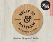 Custom Wedding Stickers - Wood Burn Texture Favor Labels