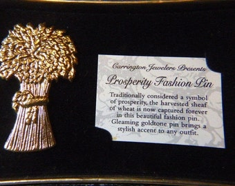 Vintage Prosperity Brooch - BR-352 - Prosperity Pin - Gold Brooch - Gold Pin
