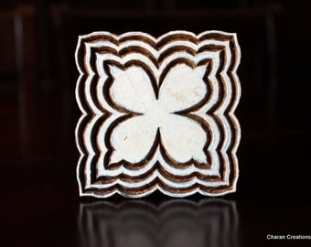 Hand Carved Indian Wood Printing Stamp- Square Floral Motif