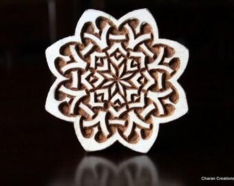 Indian Hand Carved Wood Block Stamp- Celtic Flower