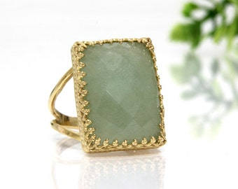 Lemon jade ring,rectangle ring,gold rectangular stone ring,gemstone ring,green stone ring,statement ring