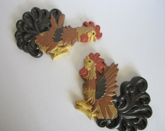 "Pair of Vintage ""Fighting"" or ""Dancing"" Roosters Chalkware Wall Art/Plaque"