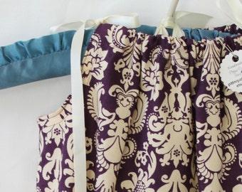 PURPLE DEMASK Plum, Cream, Tan Pillowcase, Dress, Jumper, Romper