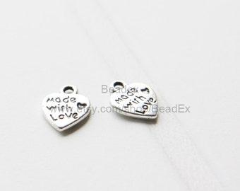 40pcs / Heart / Oxidized Silver / Base Metal / Charm / 10mm (YA4//A4)