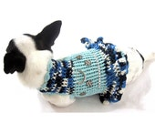 Dog Dress XXS Blue Bling-bling Pet Clothing Tiny Teacup Chihuahua Clothes with D Ring Handmade Knitwear Myknitt DK919 Free Shipping