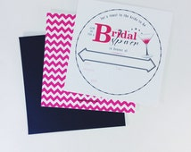 S-A-L-E | 50% off | Set of 10 | Square Hot Pink and Black, Cosmopolitan and Coaster Style Bridal Shower Invitations