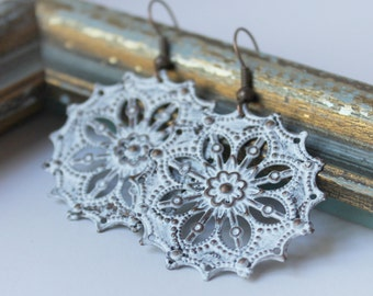 Rustic Bridesmaid Jewelry - Rustic Earrings - Lace Earrings - Filigree Earrings - Lace Jewelry - Rustic Jewelry - Gift for Bridesmaid