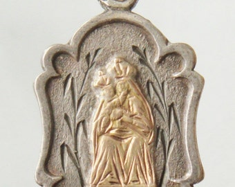 "Our Lady of the Port Vintage Silver Jewelry Religious Medal Pendant on 18"" sterling silver rolo chain"