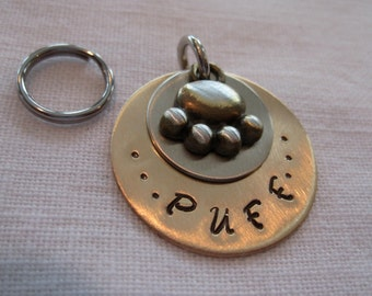 Pet Tag-Stamped with Brass Paw