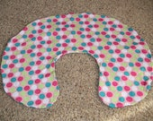 Pink, Teal, White, and Light Green Dotted Boppy Cover