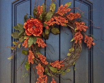 Fall Wreath Orange Berry Branches Wispy Twig Halloween Thanksgiving Grapevine Door Wreath Decor Floral Door Decoration Monogrammed Decor
