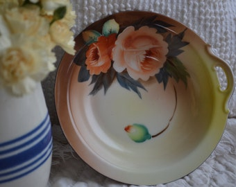 Vintage Japanese Hand Painted Yellow Orange Flower Plate