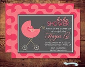 Printable It's A Girl Baby Shower Invitations (digital file) DIY Printing at home or your choice of printer